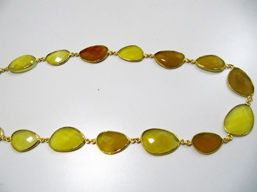 Yellow Chalcedony Bezel Connector