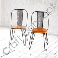IRON CHAIR WITH WOODEN/ LEATHER SEAT