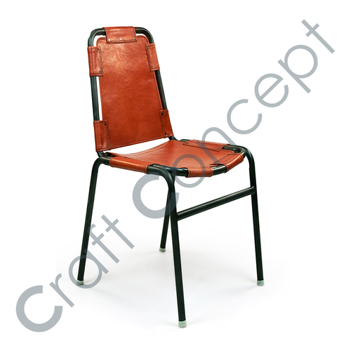 BROWN LEATHER WITH METAL CHAIR