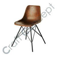 CROSS METAL LEGS DARK LEATHER CHAIR
