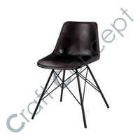CROSS METAL LEGS BLACK LEATHER CHAIR