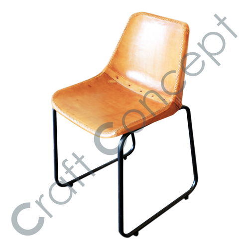 BLACK SQUARE METAL LEATHER CHAIR