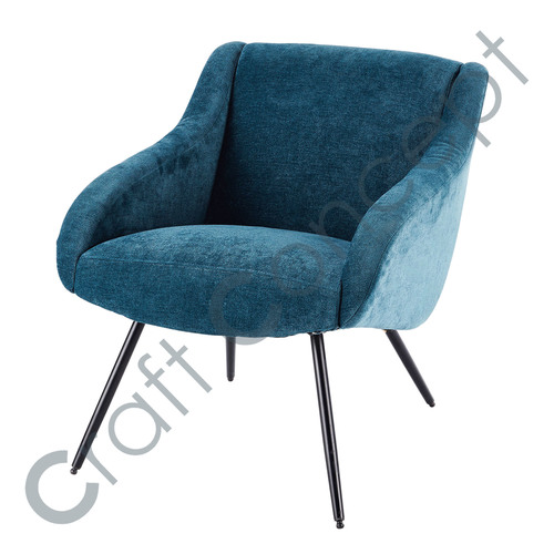 BLUE & METAL VELVET VINTAGE SOFA CHAIR