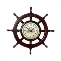 Wood Nautical Wheel Wall Clock