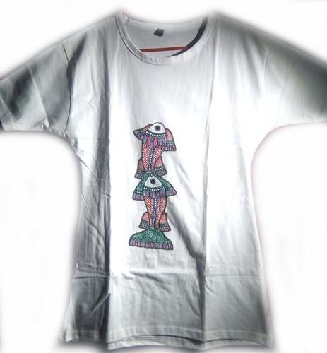 Madhubani Fish Painting on T-shirt .