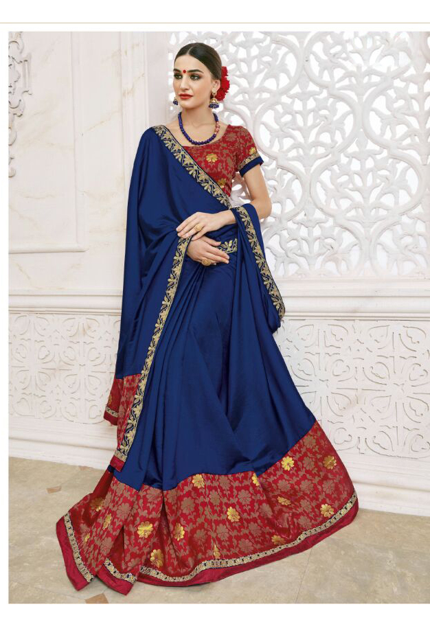 Blue Embroidery Designer Saree