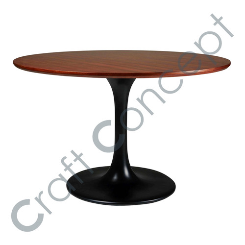 BLACK POLE WITH WOODEN TOP COFFEE TABLE