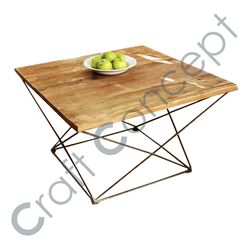SQUARE WOODEN TOP COFFEE TABLE