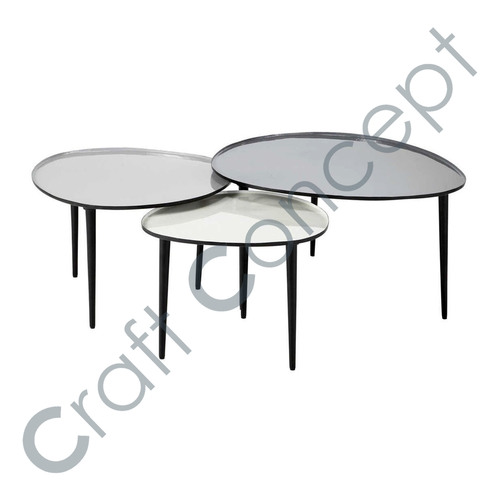 SET OF 3 LOW METAL NESTING TABLE