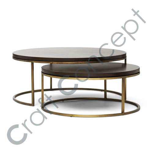 SET OF 2 ROUND METAL NESTING TABLE