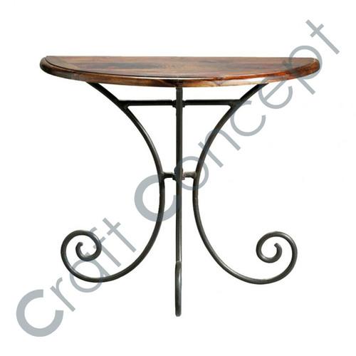 HALF MOON SHEESHAM & IRON SIDE TABLE