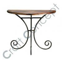 HALF MOON SHEESHAM & IRON SIDE TABLE