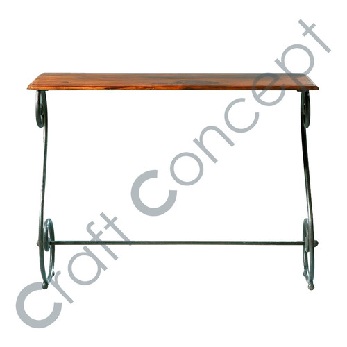 SHEESHAM WOOD & WROUGHT IRON CONSOLE TABLE