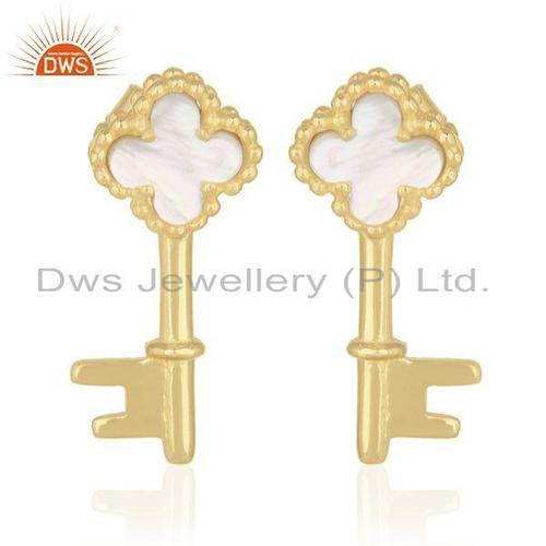 Mother of Pearl Gold Plated Clover Key Earrings