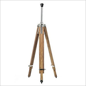Black Floor Lamp With Wooden Tripod Stand