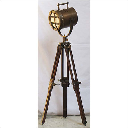 Brass Antique Search Light With Tripod Stand