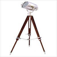 Chrome Search Light With Brown Tripod Stand