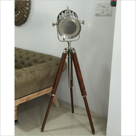 Designer Nickel Search Light With Wooden Tripod Stand