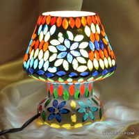 TABLE LAMPS ,MULTI MOSAIC TABLE LAMP BASE,SMALL LAMP,CLEAR TABLE