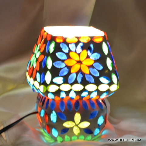 TABLE LAMPS ,BLUE MOSAIC TABLE LAMP BASE,SMALL LAMP,CLEAR TABLE LAMP,