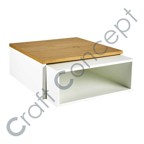 SET OF 2 WHITE WOODEN COFFEE TABLE
