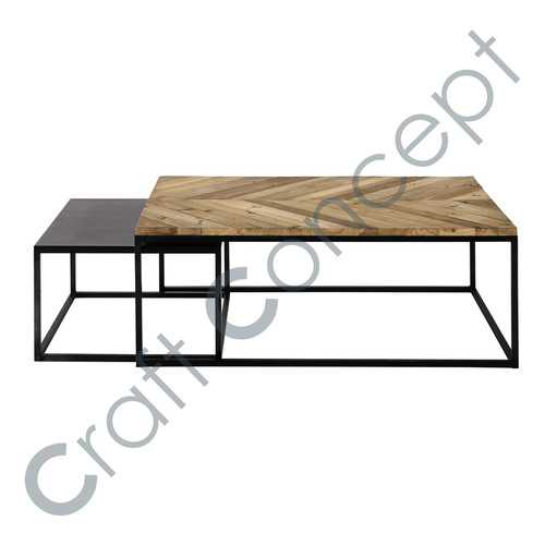 SET OF 2 METAL NESTING TABLE
