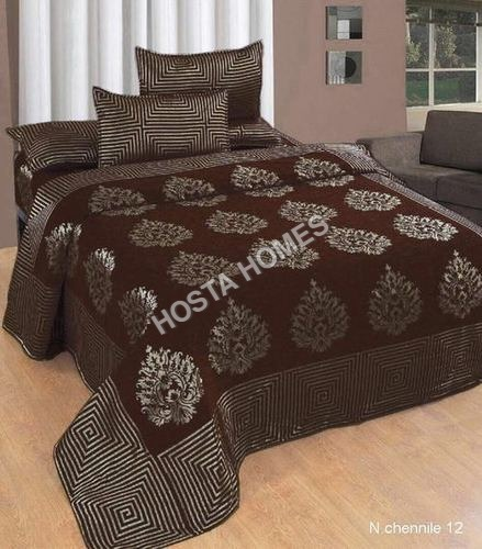 Brown Color Chenille Double Bed Sheet 90 X100