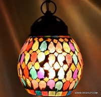 CRACKLE GLASS HANGING LAMP IN GREENS
