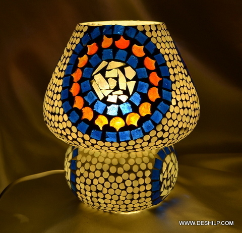 Table Lamp dome shaped table glass lamp has colourful