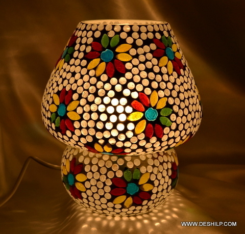 Earthen Metal Handcrafted Colourfu Mosaic Decorated Dome Shaped Glass Table Lamp
