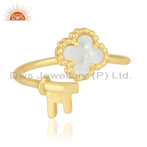 Gold Plated Silver Clover Key Ring Jewelry