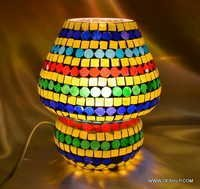 Handcrafted Colourful Mosaic Decorated Dome Shaped Glass Table Lamp