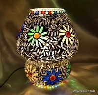 Metal Handcrafted Colourful Mosaic Decorated Dome Shaped Glass Table Lamp dome
