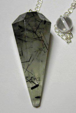 Tourmaline Needles in Quartz Pendulum