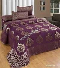 Purple Color Chenille Double Bed sheet With Pillow Covers