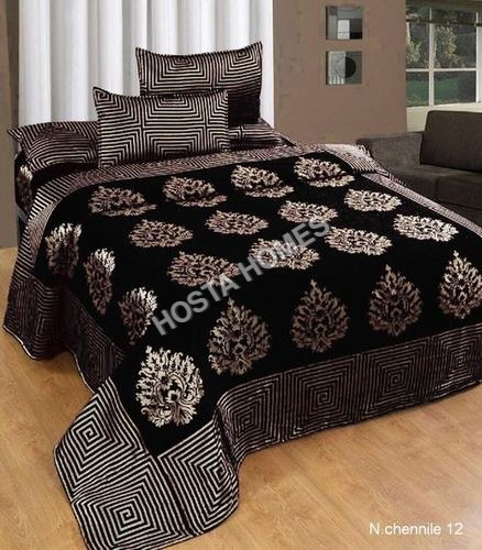 Coffee Color 90 X 100 Chenille Double Bed Bed Sheet With Pillow Covers