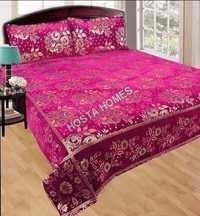 Cerise ColorKing Size Chenille Bed Sheet With Pillow Covers