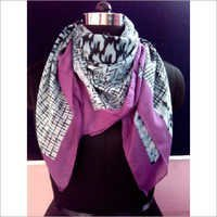 Printed Square purple Scarf