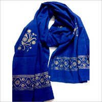 Royal Blue Golden print Scarf