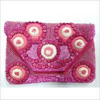 Pink Beaded Pouch
