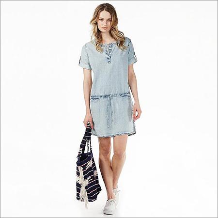 Ladies Blue Denim Tunic Dress