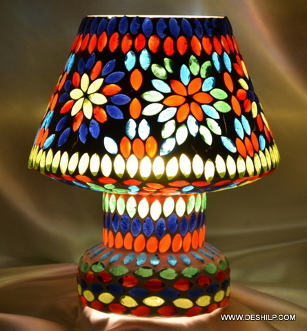 Home & Kitchen Indoor Lighting Table Lights Mosaic Decorated Dome Shaped Glass