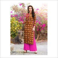 Ladies Collar Designer Print Kurti