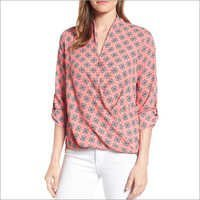 Ladies Poly Cotton Rayon Digital Printed Tops