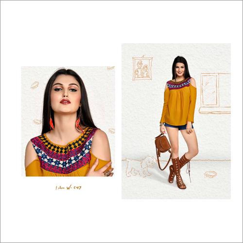 Ladies Off Shoulder Designer Western Top