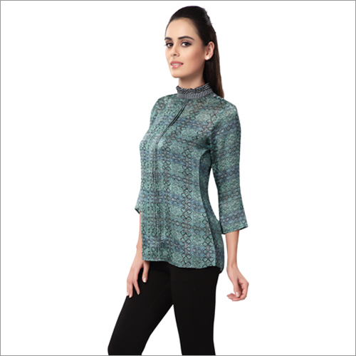 Ladies Chinese Collar Printed Tops