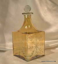 Amber colored glass Decanter