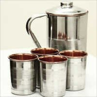 Steel And Copper Jug And Glasses