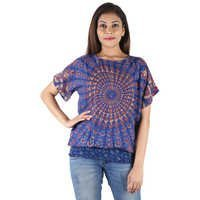 Rayon mandala Women Top Dresses Women Beachwear Dresses Hand Block Ladies Blue Printed Top Dress