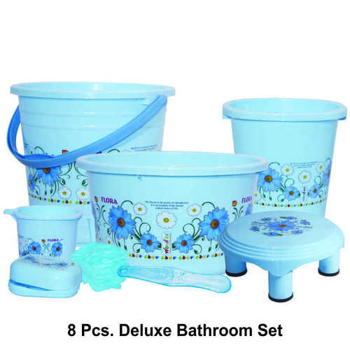 WONDER PLASTIC PRINTED BATHROOM SET DELUXE 8PC SET